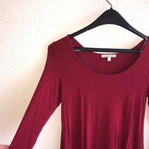 Solid Red T-shirt Dress w/ Quarter Length Sleeves